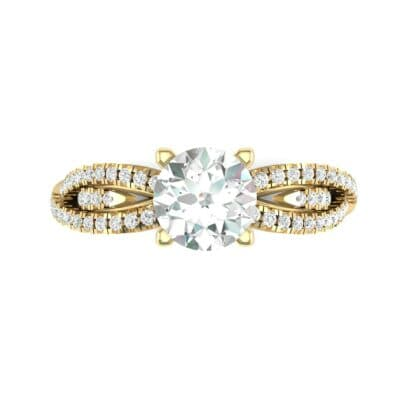 Countess Split Shank Solitaire Diamond Engagement Ring (1.03 CTW) Top Flat View