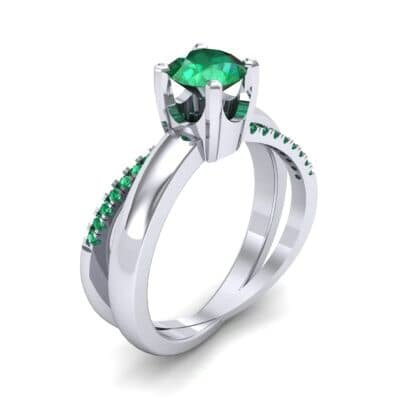 Galaxy Solitaire Emerald Engagement Ring (0.86 CTW) Perspective View