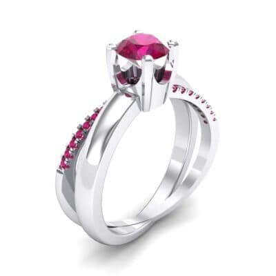 Galaxy Solitaire Ruby Engagement Ring (0.86 CTW) Perspective View