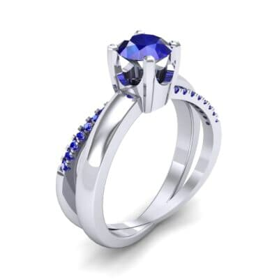 Galaxy Solitaire Blue Sapphire Engagement Ring (0.86 CTW) Perspective View