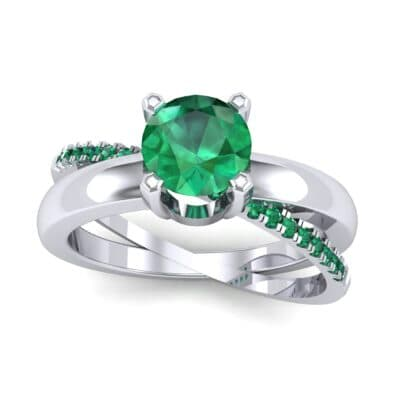 Galaxy Solitaire Emerald Engagement Ring (0.86 CTW) Top Dynamic View