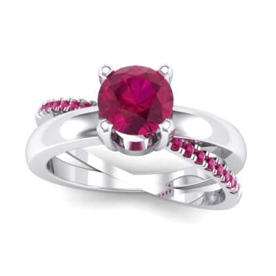 Galaxy Solitaire Ruby Engagement Ring (0.86 CTW) Top Dynamic View