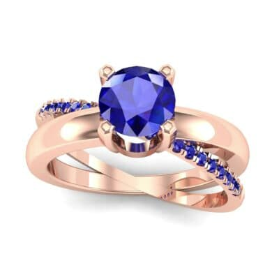 Galaxy Solitaire Blue Sapphire Engagement Ring (0.86 CTW) Top Dynamic View