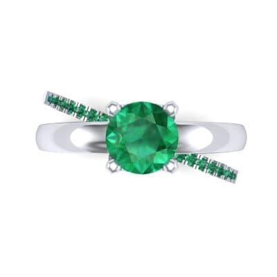 Galaxy Solitaire Emerald Engagement Ring (0.86 CTW) Top Flat View