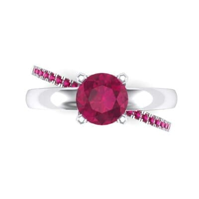 Galaxy Solitaire Ruby Engagement Ring (0.86 CTW) Top Flat View