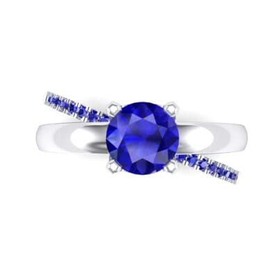 Galaxy Solitaire Blue Sapphire Engagement Ring (0.86 CTW) Top Flat View