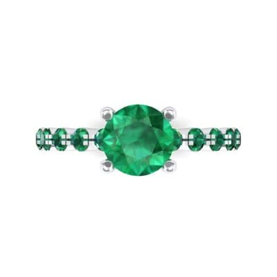Bezel-Set Bubble Emerald Ring (0.78 CTW) Top Flat View