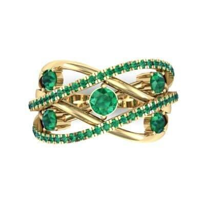 Star Jasmine Emerald Ring (0.89 CTW) Top Flat View