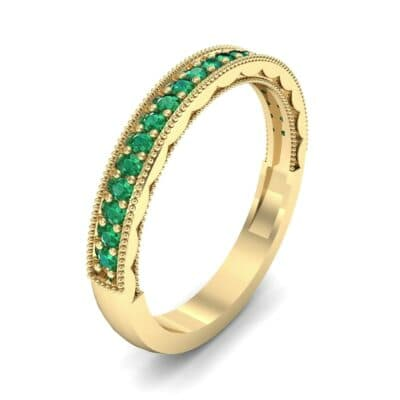 Pave Palazzo Emerald Ring (0.21 CTW) Perspective View