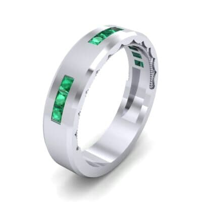 Demilune Threefold Emerald Ring (0.31 CTW) Perspective View