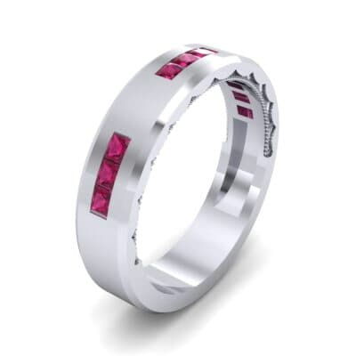 Demilune Threefold Ruby Ring (0.31 CTW) Perspective View