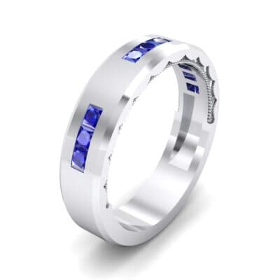 Demilune Threefold Blue Sapphire Ring (0.31 CTW) Perspective View