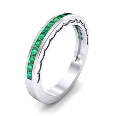 Channel-Set Demilune Emerald Ring (0.48 CTW) Perspective View