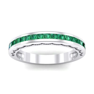 Channel-Set Demilune Emerald Ring (0.48 CTW) Top Dynamic View