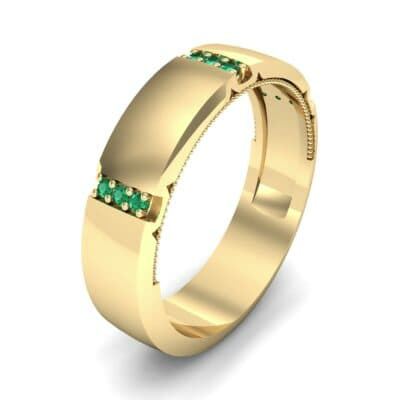 Demilune Sunken Pave Emerald Ring (0.05 CTW) Perspective View