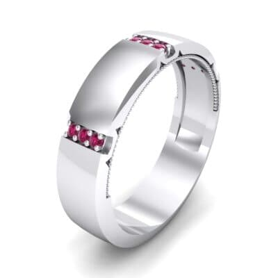 Demilune Sunken Pave Ruby Ring (0.05 CTW) Perspective View