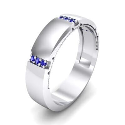 Demilune Sunken Pave Blue Sapphire Ring (0.05 CTW) Perspective View