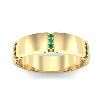 Demilune Sunken Pave Emerald Ring (0.05 CTW) Top Dynamic View