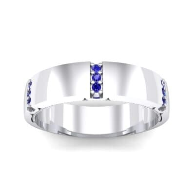 Demilune Sunken Pave Blue Sapphire Ring (0.05 CTW) Top Dynamic View