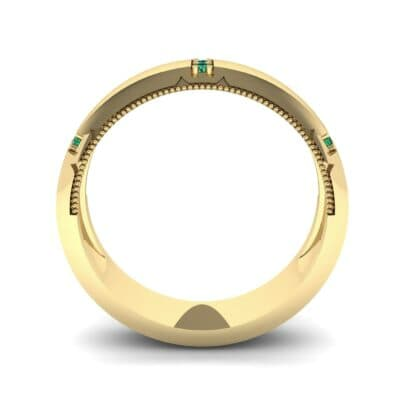 Demilune Sunken Pave Emerald Ring (0.05 CTW) Side View