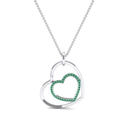 Nested Heart Emerald Pendant (0.19 CTW) Top Dynamic View