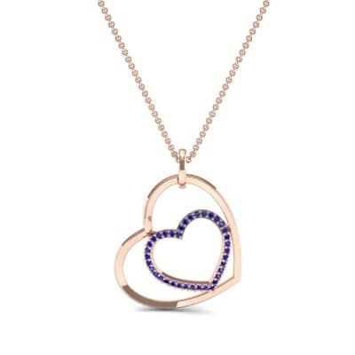 Nested Heart Blue Sapphire Pendant (0.19 CTW) Top Dynamic View