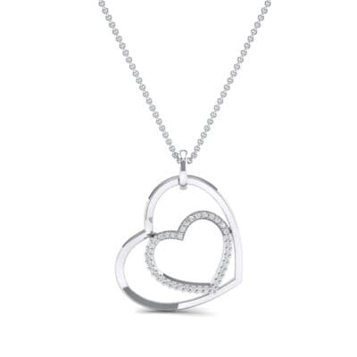 Nested Heart Diamond Pendant (0.19 CTW) Top Dynamic View