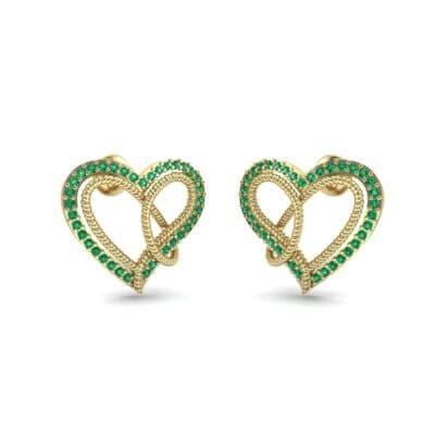 Lasso Heart Emerald Earrings (0.36 CTW) Perspective View