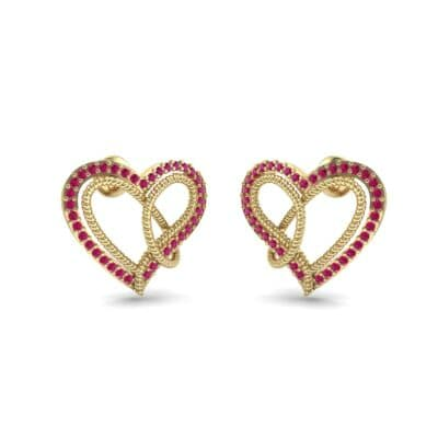Lasso Heart Ruby Earrings (0.36 CTW) Perspective View