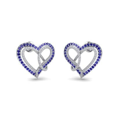 Lasso Heart Blue Sapphire Earrings (0.36 CTW) Perspective View