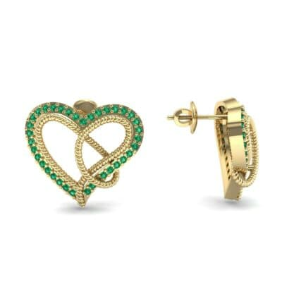 Lasso Heart Emerald Earrings (0.36 CTW) Top Dynamic View