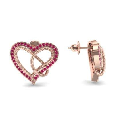 Lasso Heart Ruby Earrings (0.36 CTW) Top Dynamic View