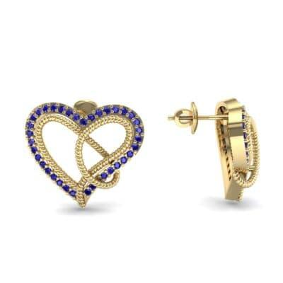 Lasso Heart Blue Sapphire Earrings (0.36 CTW) Top Dynamic View