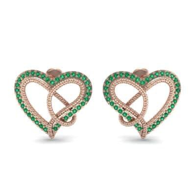 Lasso Heart Emerald Earrings (0.36 CTW) Side View