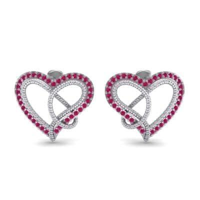 Lasso Heart Ruby Earrings (0.36 CTW) Side View