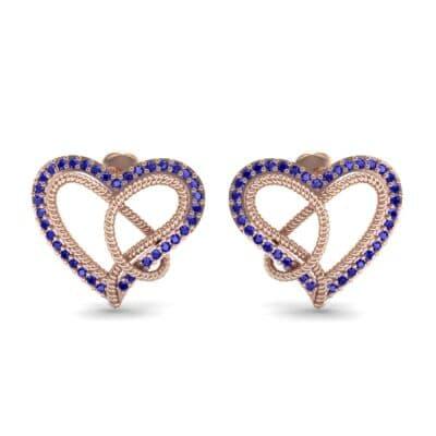 Lasso Heart Blue Sapphire Earrings (0.36 CTW) Side View