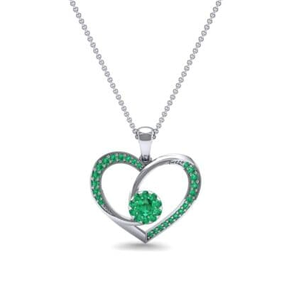 Jeweled Heart Emerald Pendant (0.47 CTW) Top Dynamic View