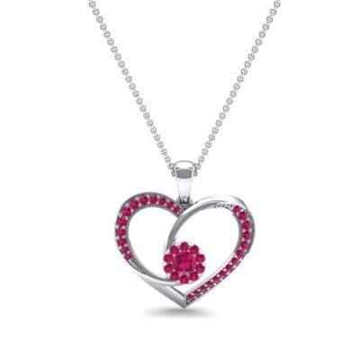 Jeweled Heart Ruby Pendant (0.47 CTW) Top Dynamic View