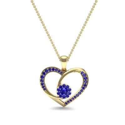 Jeweled Heart Blue Sapphire Pendant (0.47 CTW) Top Dynamic View