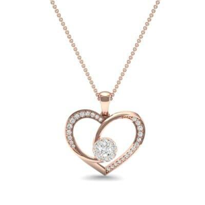 Jeweled Heart Diamond Pendant (0.47 CTW) Top Dynamic View