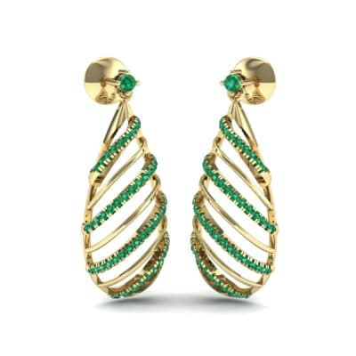 Banded Pear Drop Emerald Earrings (0.57 CTW) Perspective View