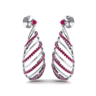 Banded Pear Drop Ruby Earrings (0.57 CTW) Perspective View