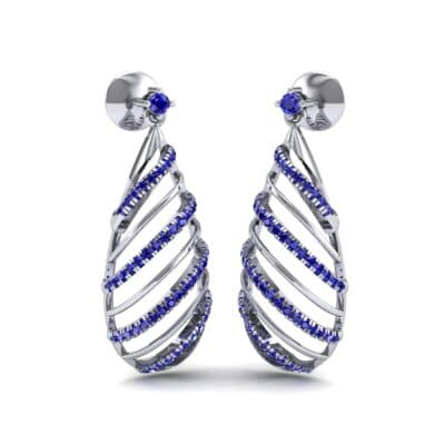 Banded Pear Drop Blue Sapphire Earrings (0.57 CTW) Perspective View