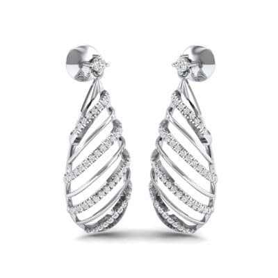 Banded Pear Drop Diamond Earrings (0.57 CTW) Perspective View