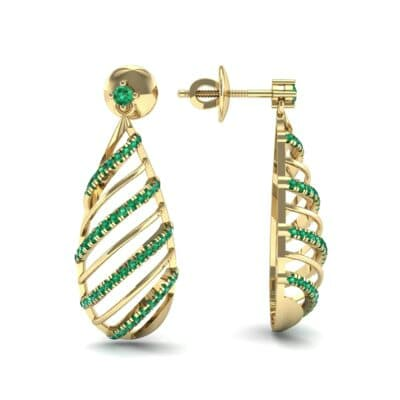 Banded Pear Drop Emerald Earrings (0.57 CTW) Top Dynamic View