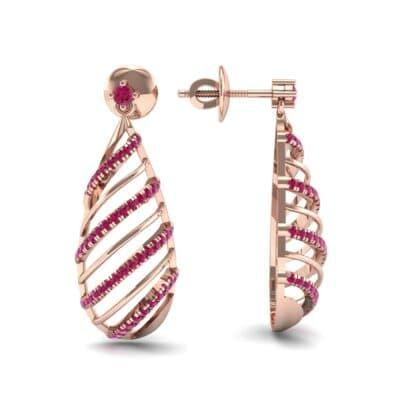 Banded Pear Drop Ruby Earrings (0.57 CTW) Top Dynamic View