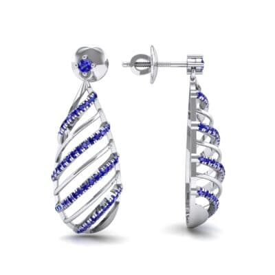 Banded Pear Drop Blue Sapphire Earrings (0.57 CTW) Top Dynamic View