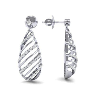 Banded Pear Drop Diamond Earrings (0.57 CTW) Top Dynamic View