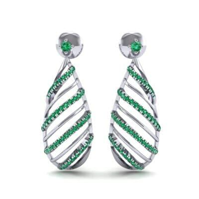 Banded Pear Drop Emerald Earrings (0.57 CTW) Side View