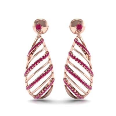 Banded Pear Drop Ruby Earrings (0.57 CTW) Side View